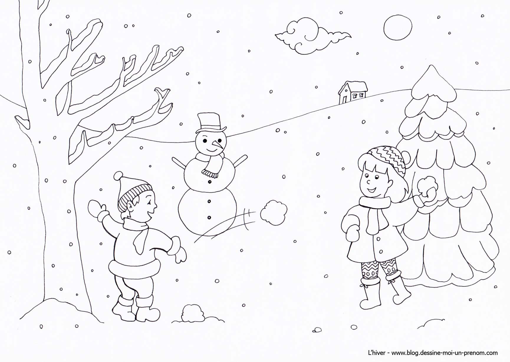 coloriage à dessiner oiseau en hiver