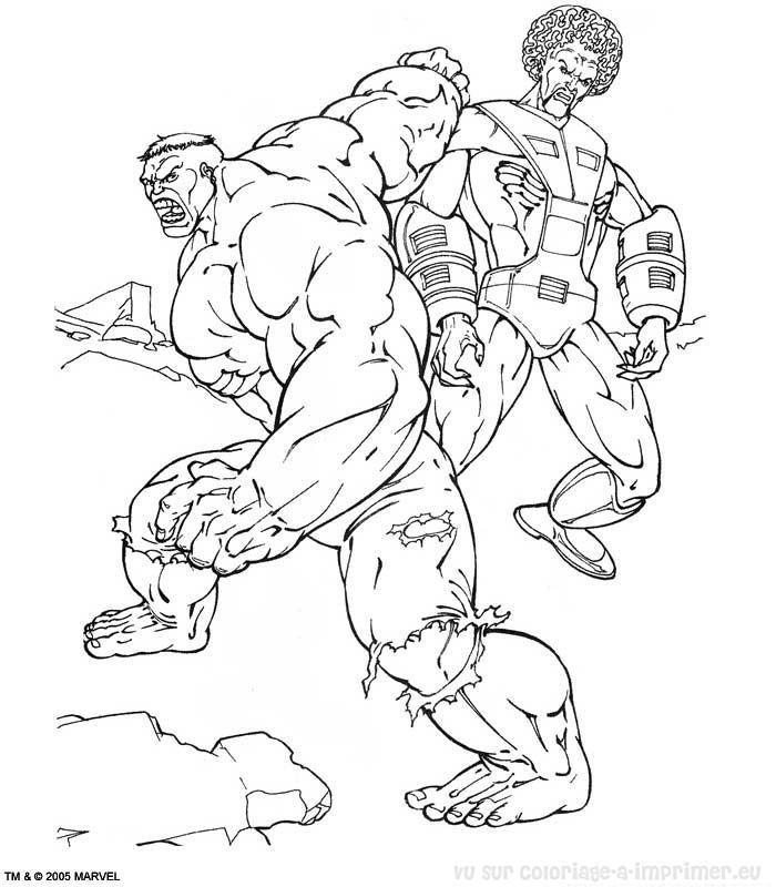 dessin à colorier hulk rouge