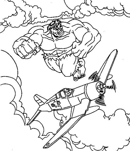 dessin à colorier hulk à imprimer