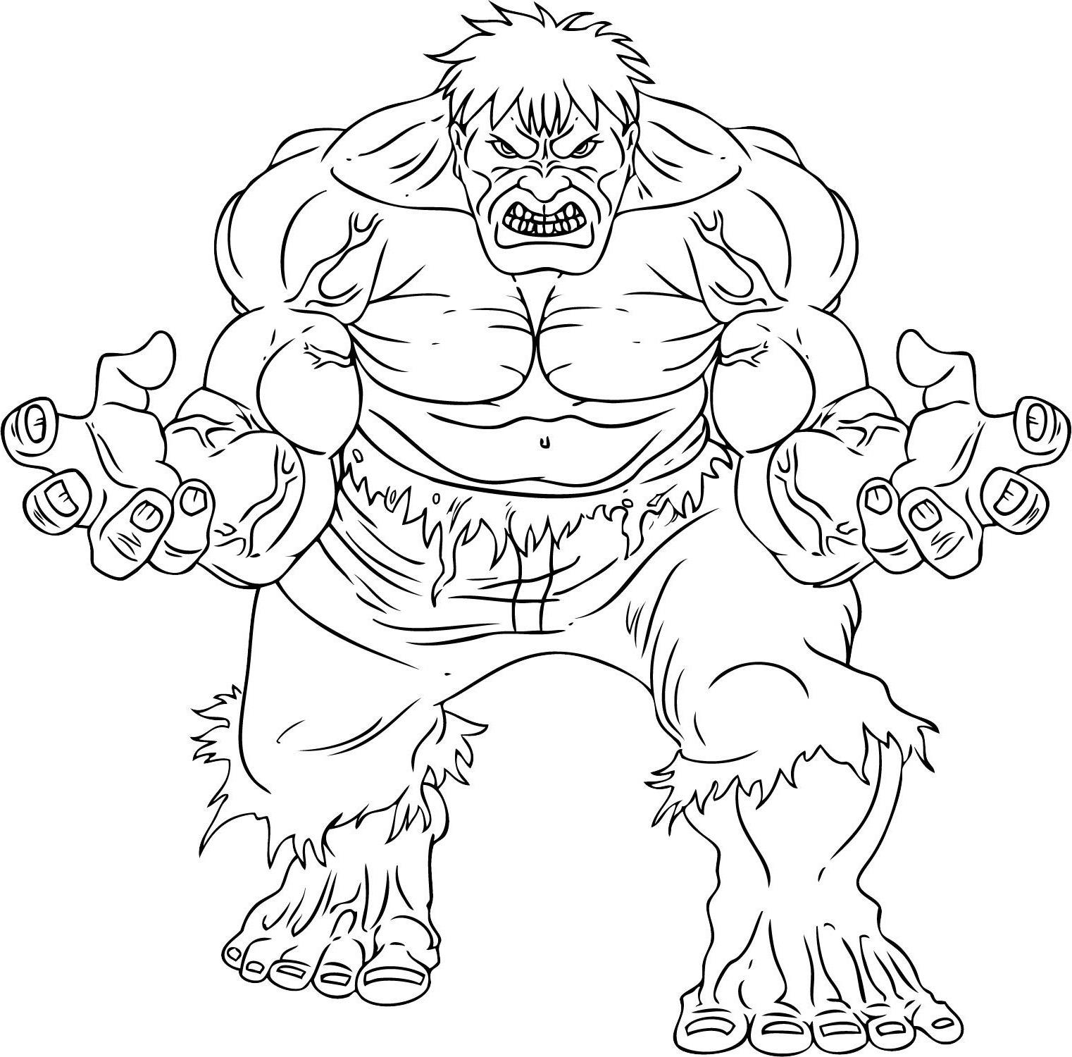 imprimer coloriage à dessiner hulk