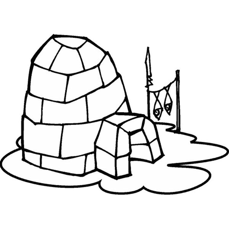 coloriage à dessiner igloo a imprimer