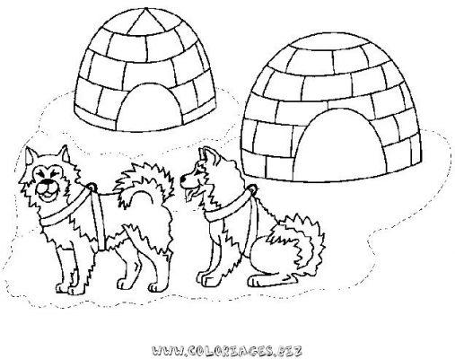 dessin à colorier igloo gratuit