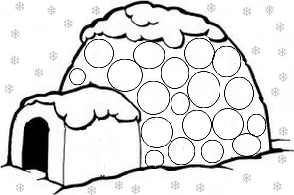 dessin à colorier un igloo