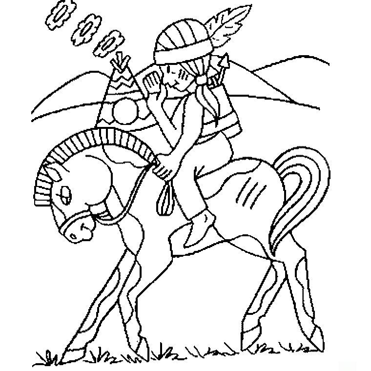 15 dessins de coloriage indien cheval à imprimer