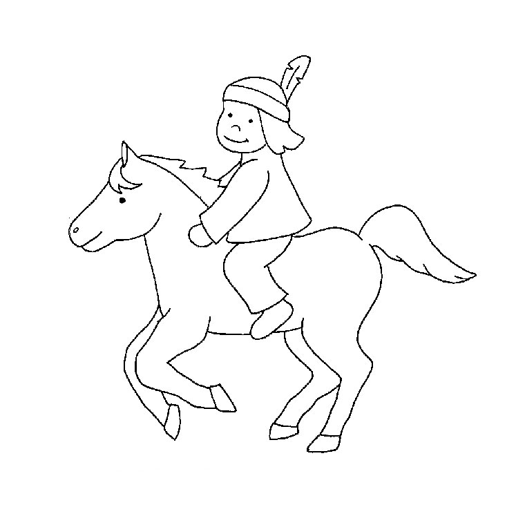 16 dessins de coloriage indien et cowboy imprimer - Dessins de chevaux facile ...