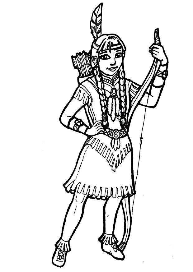 coloriage à dessiner indien maternelle