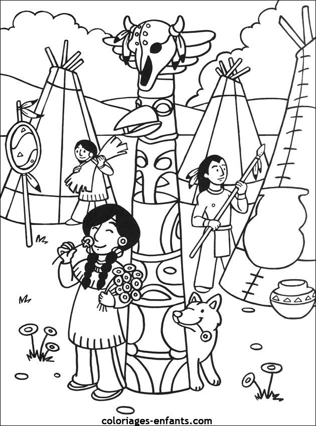 dessin à colorier d'indien