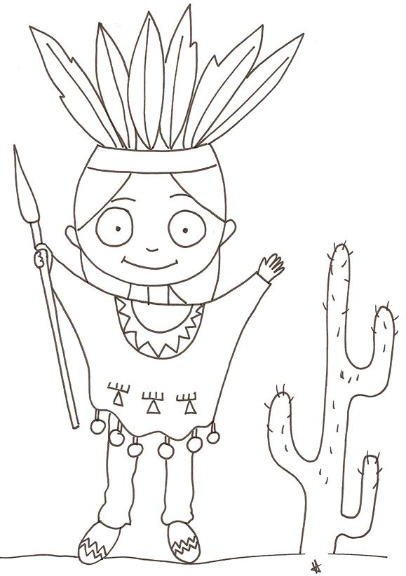 13 dessins de coloriage indiens d 39 am rique imprimer - Coloriage petit indien imprimer ...