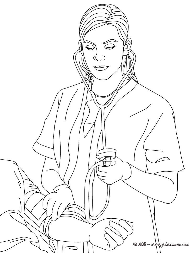 dessin à colorier infirmière imprimer