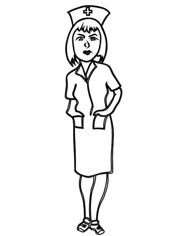 coloriage à dessiner infirmiere humoristique