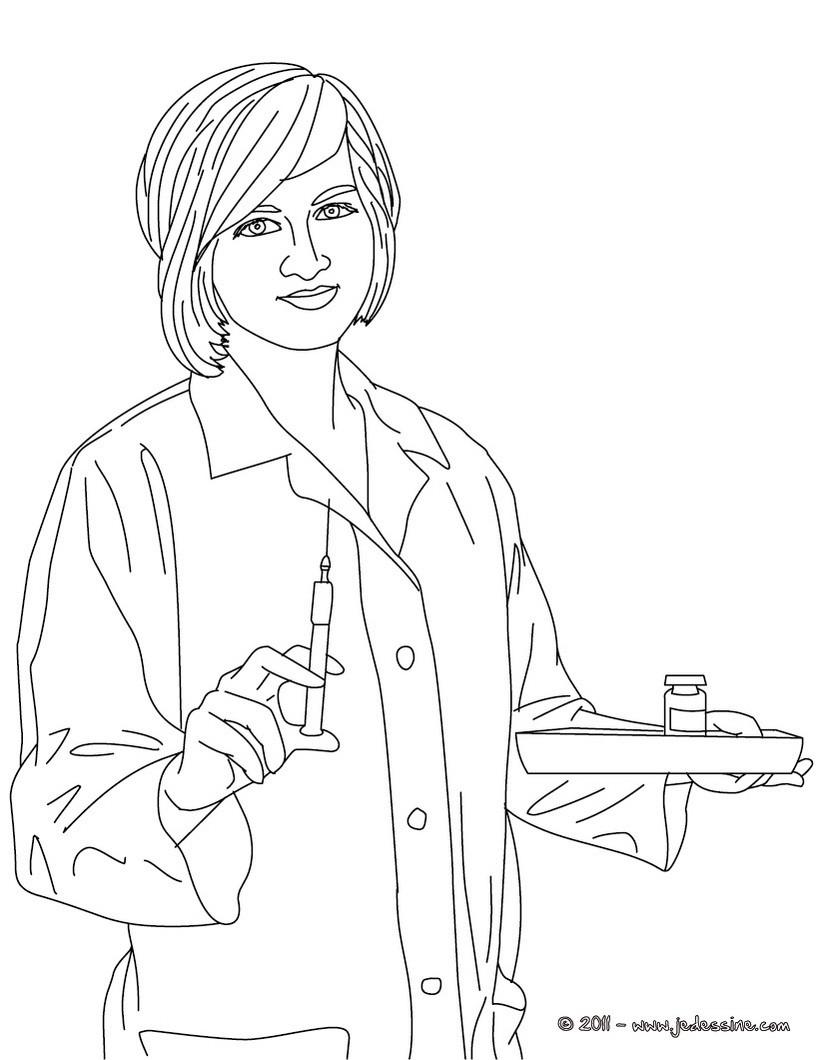 coloriage à dessiner infirmière