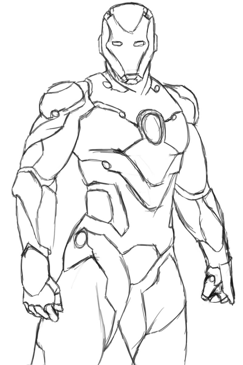 dessin à colorier iron man avengers