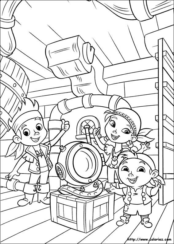 dessin à colorier à imprimer jack et les pirates du pays imaginaire