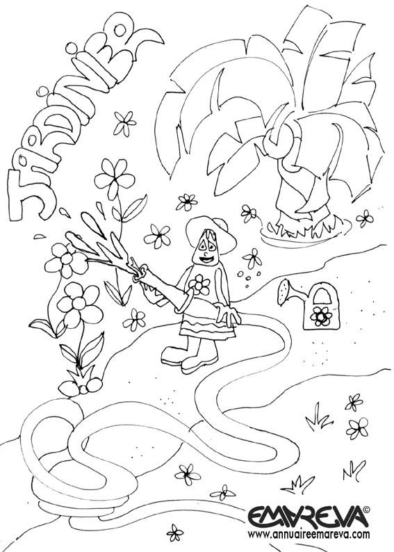 coloriage à dessiner jardinier