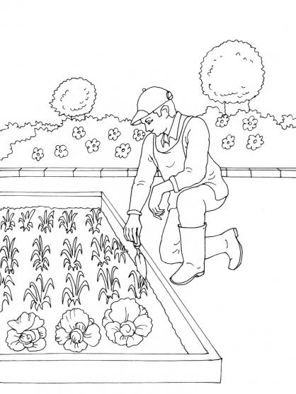 dessin d'un jardinier imprimer