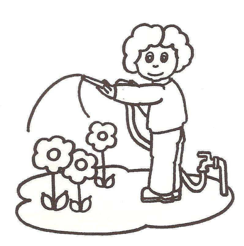 coloriage à dessiner d'un jardinier