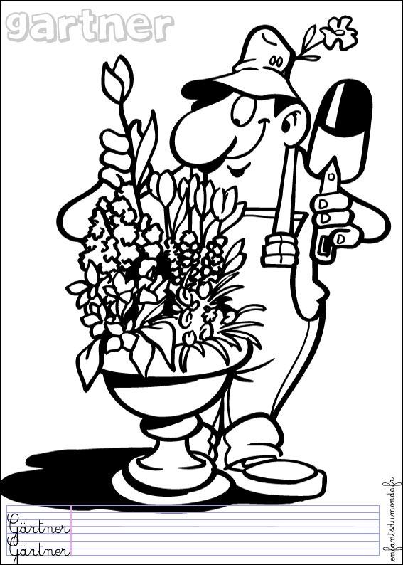 dessin à colorier de jardinier
