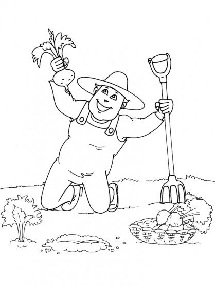 dessin à colorier jardinier