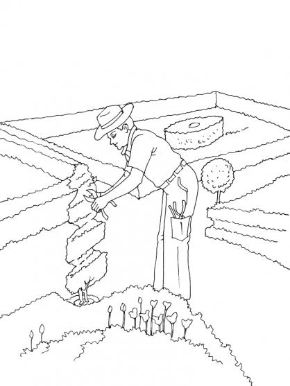 coloriage de jardinier