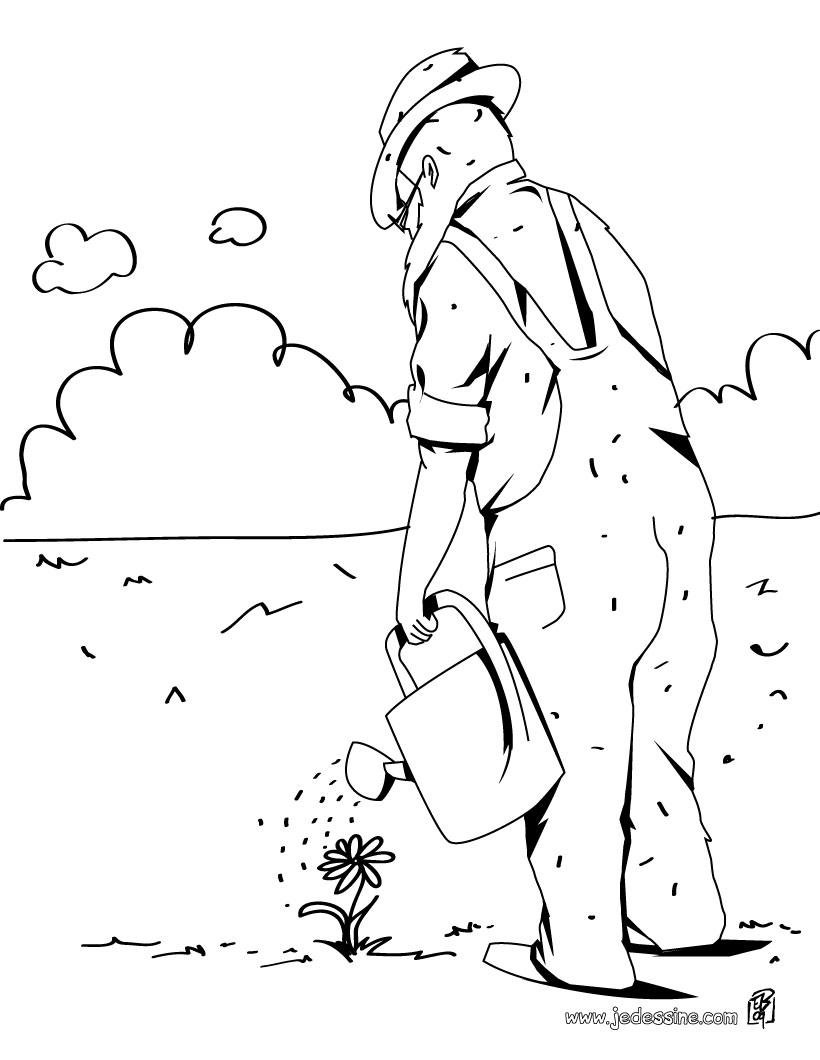 dessin à colorier jardiniere
