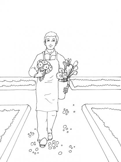 coloriage à dessiner jardinier gratuit