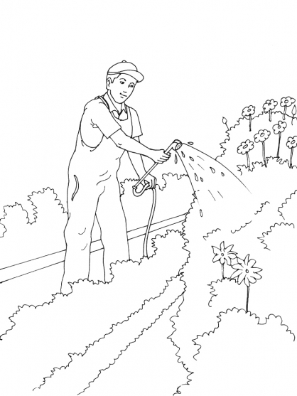 coloriage à dessiner jardinier maternelle