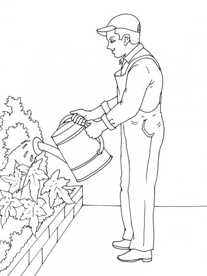 coloriage jardinier a imprimer