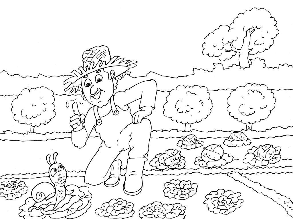dessin à colorier jardinier maternelle
