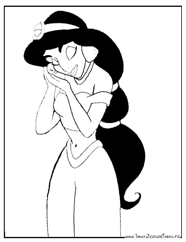 coloriage à dessiner princesse jasmine en ligne