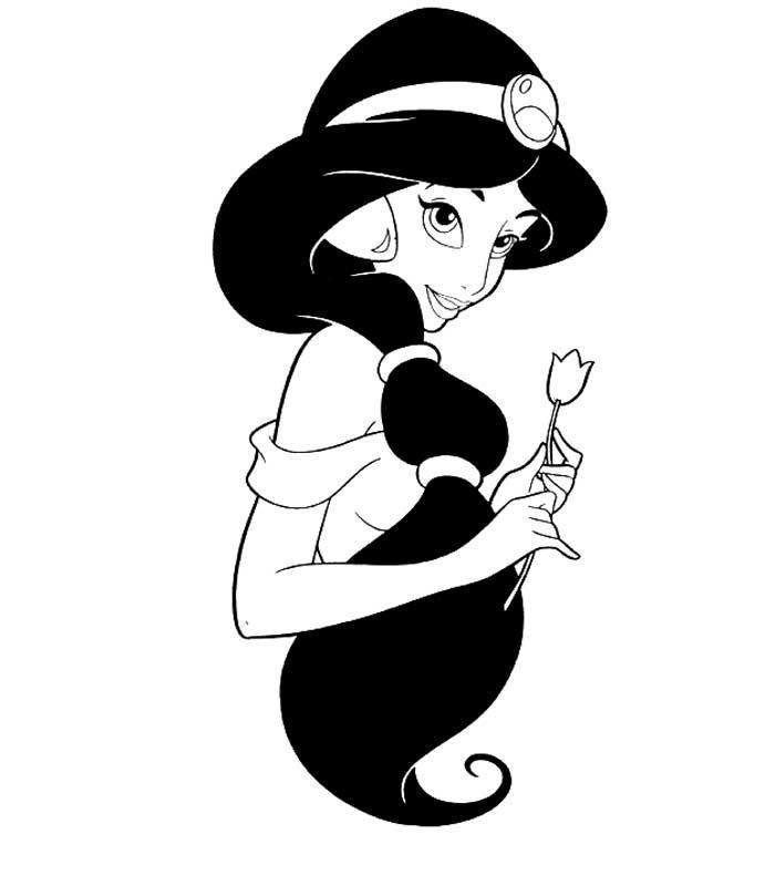 dessin à colorier princesse jasmine à imprimer