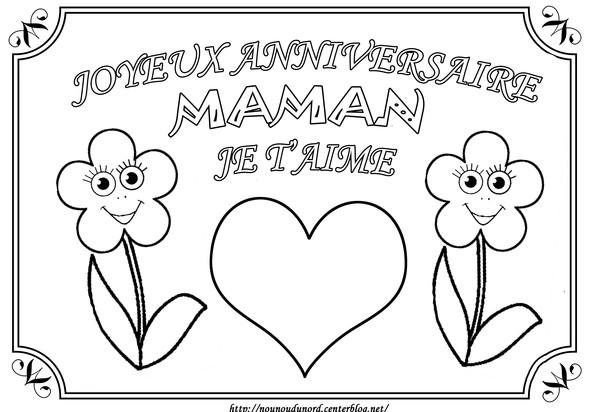 dessin à colorier joyeux anniversaire fleur