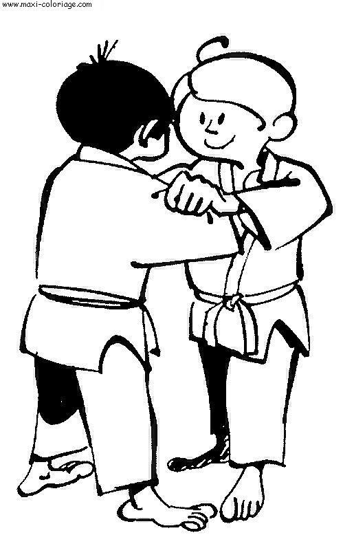 dessin de judo a colorier