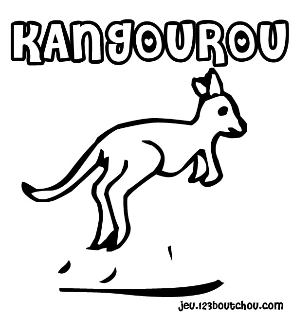 dessin à colorier animaux kangourou