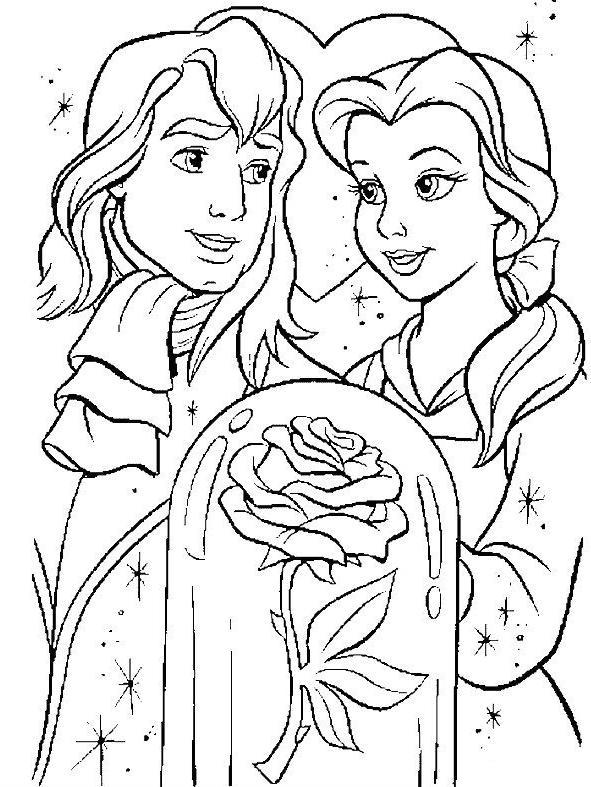 Coloriage à Dessiner Princesse La Belle Et La Bete A Imprimer