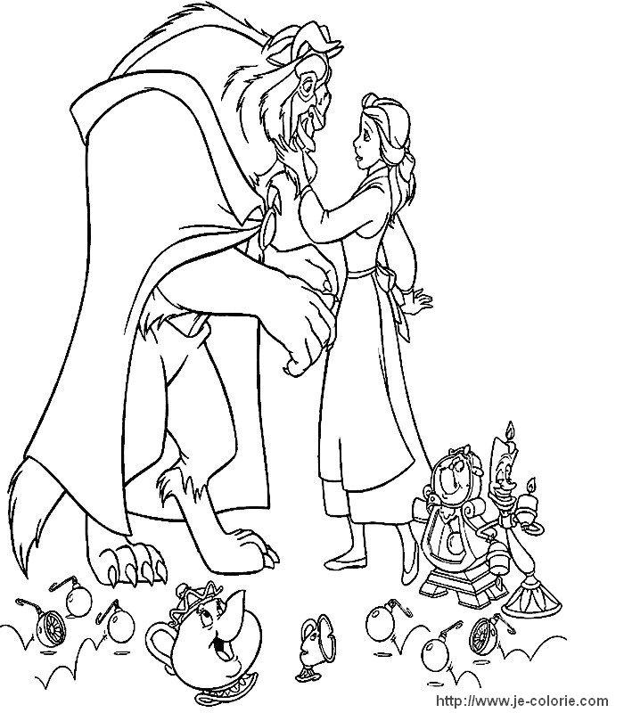 dessin à colorier gratuit la belle et la bete