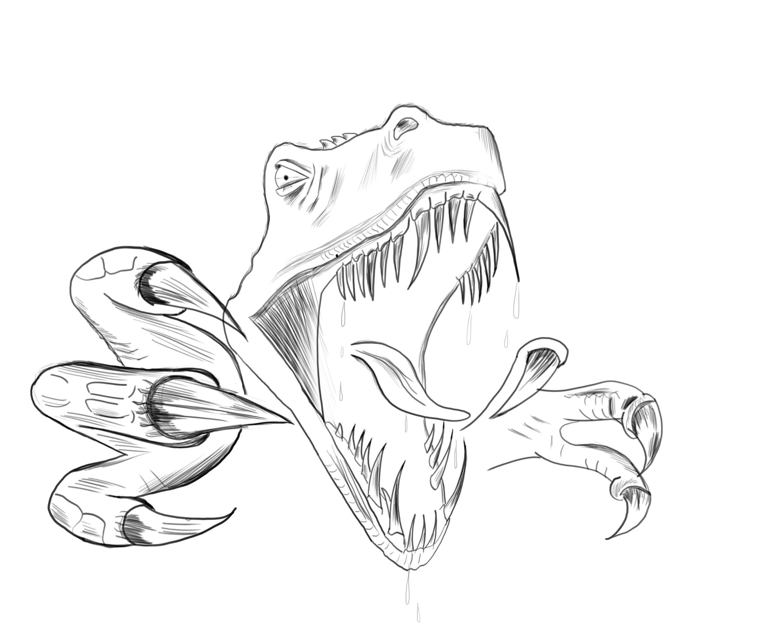 136 dessins de coloriage la cour de r cr imprimer - Tyrannosaure a colorier ...