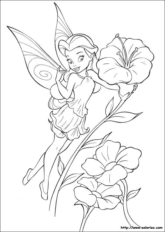 coloriage à dessiner de la fée clochette a imprimer gratuit