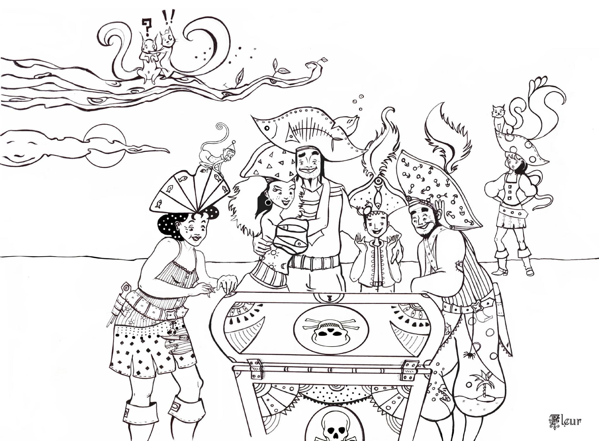 coloriage à dessiner a imprimer gratuit la famille pirate