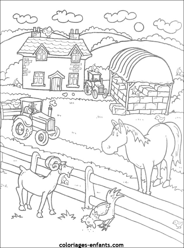 2 dessins de coloriage la ferme en folie a imprimer imprimer - Coloriage fermier ...