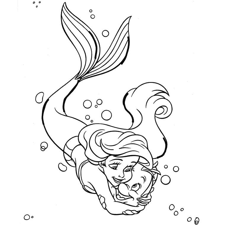coloriage à dessiner la petite sirene imprimer