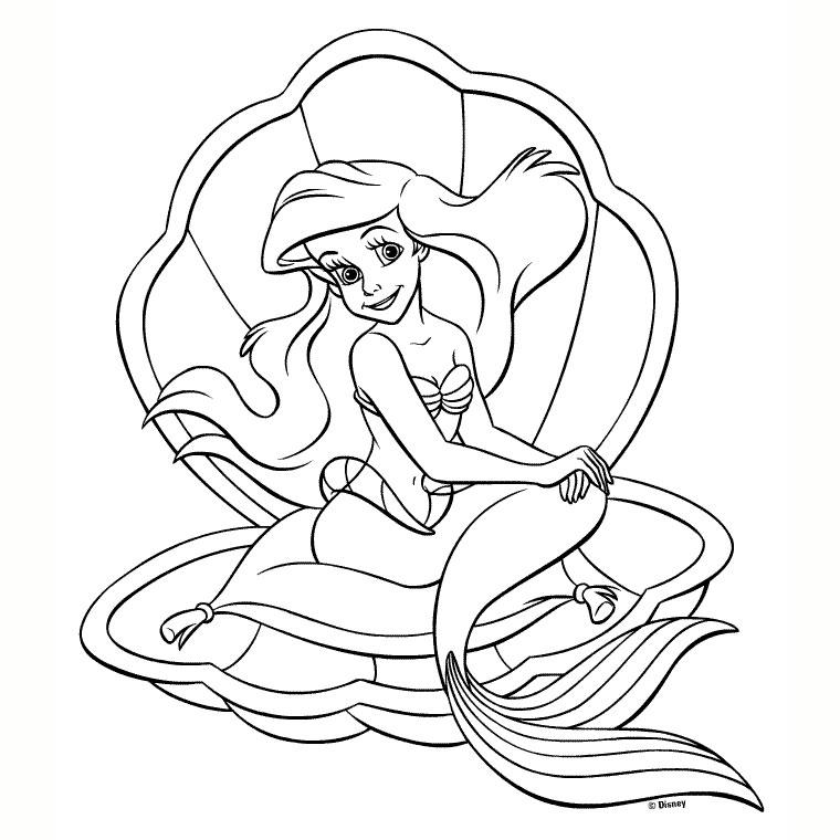 dessin à colorier la petite sirene en ligne