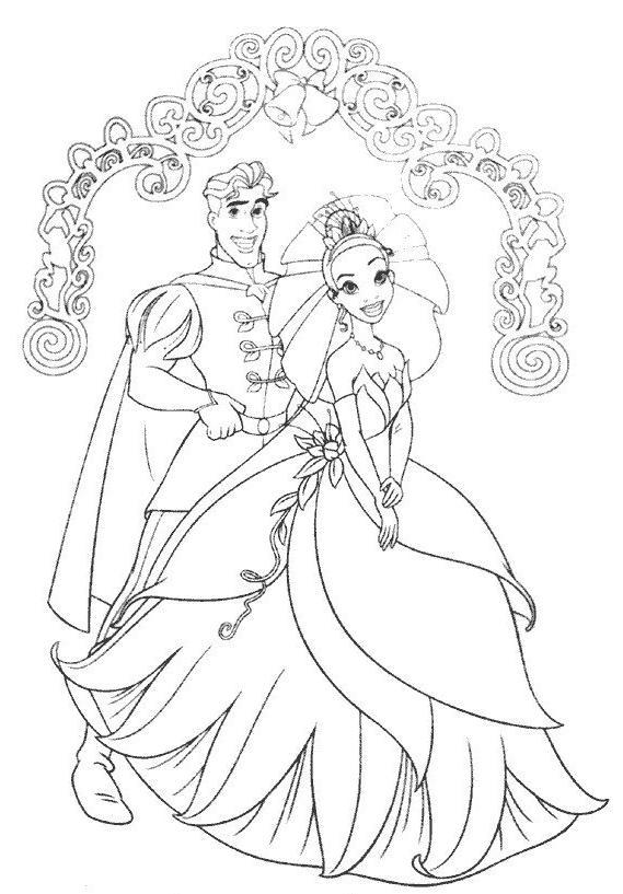 coloriage à dessiner la princesse et la grenouille