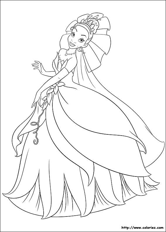 coloriage à dessiner la princesse et la grenouille charlotte