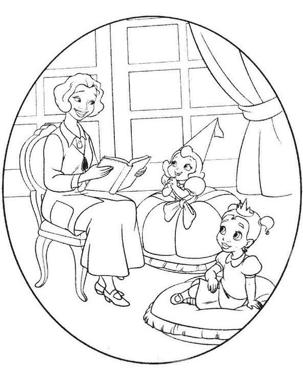 la princesse et la grenouille en dessin à colorier