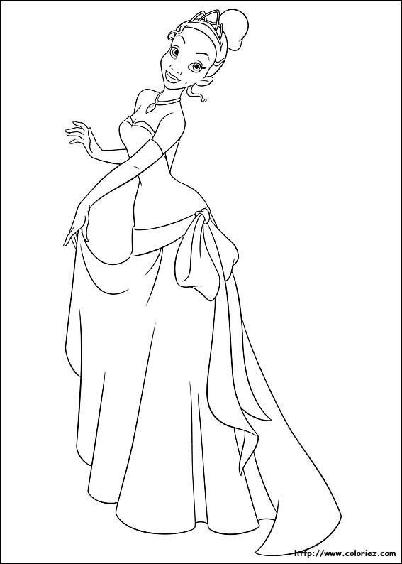 coloriage à dessiner la princesse et la grenouille gratuit