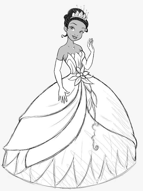 imprimer coloriage à dessiner la princesse et la grenouille