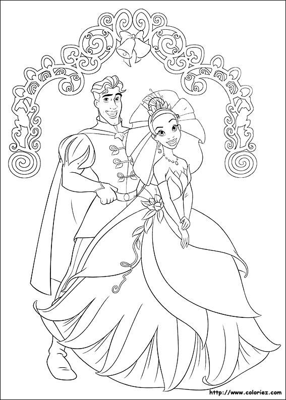 coloriage à dessiner la princesse et la grenouille disney