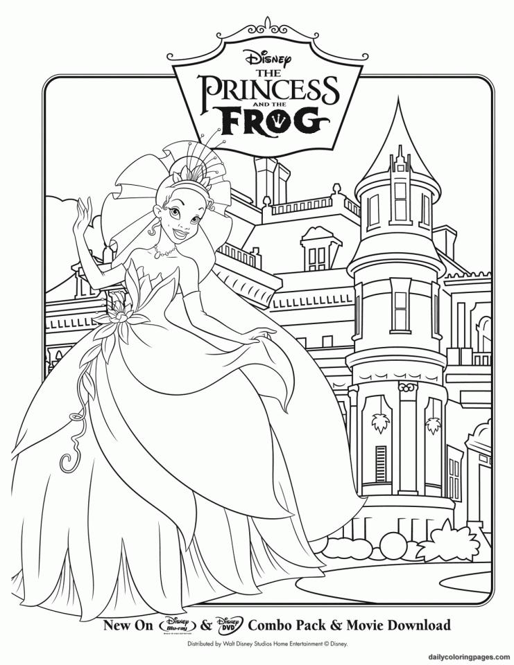 coloriage à dessiner la princesse diana et la grenouille