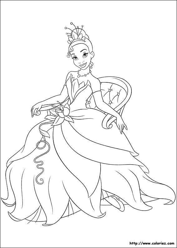 Jeu de coloriage dessiner de la princesse et la grenouille - Jeu de coloriage de princesse ...