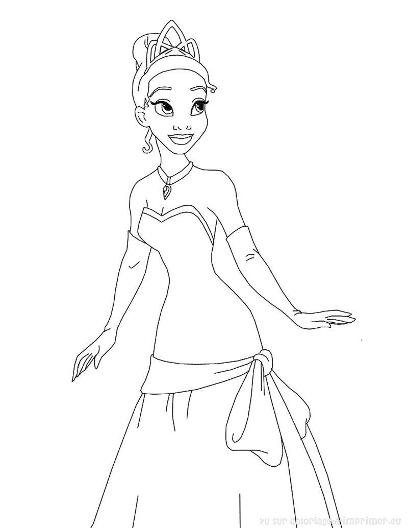 la princesse et la grenouille en coloriage à dessiner